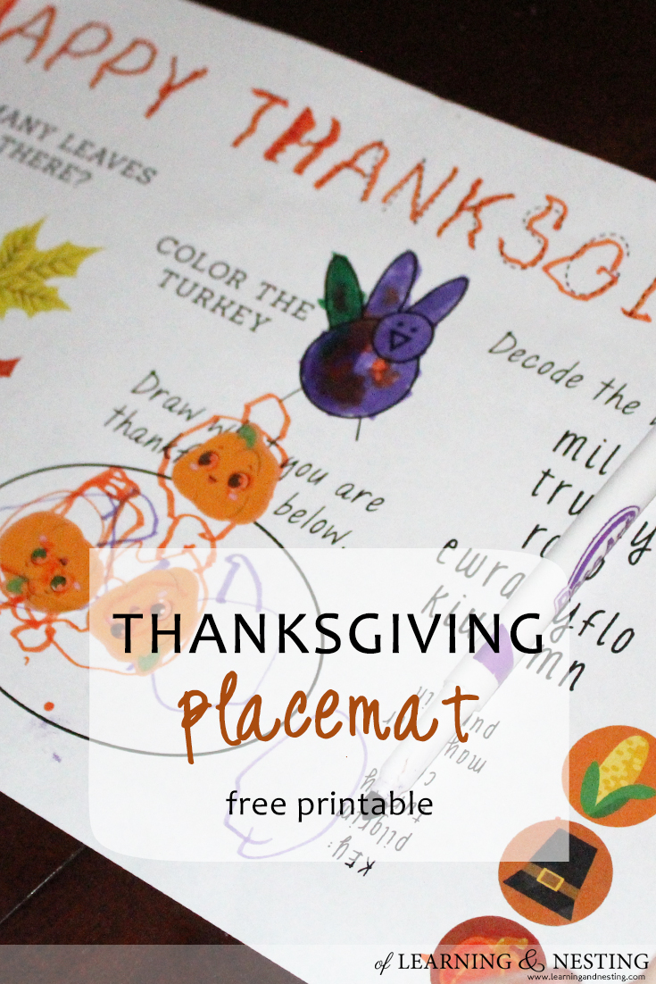 FREE Thanksgiving Placemat Printable courtesy of Learning and Nesting