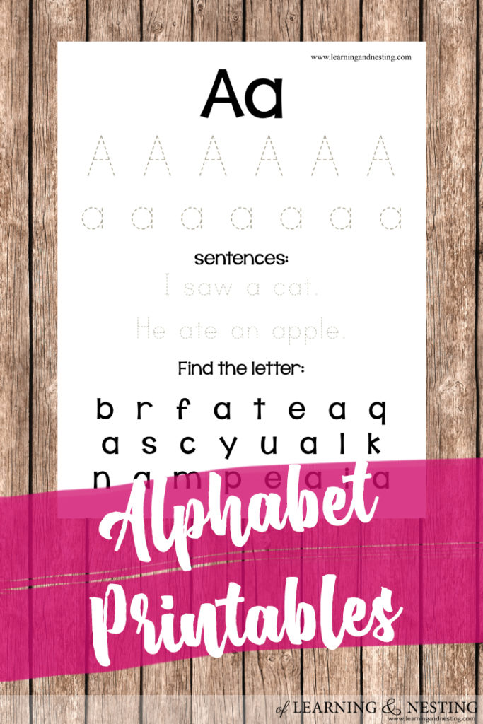 Alphabet Printables - Letter A printable for preschoolers. @ of Learning and Nesting