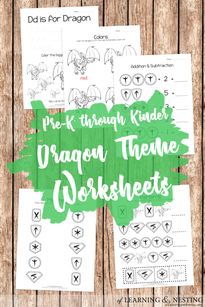 FREE Printables - Pre-K through Kinder Dragon Themed Worksheets - Basic Skills - of Learning and Nesting