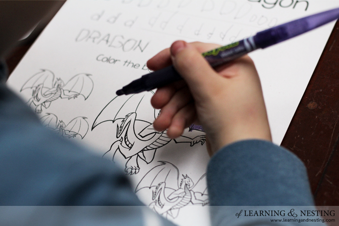 Pre-K through Kinder Dragon Themed Worksheets - Basic Skills - of Learning and Nesting